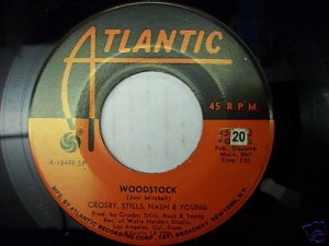 "Red Atlantic label on CSNY's ""Woodstock"" 45 RPM single"