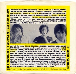 View of the back of the picture sleeve.