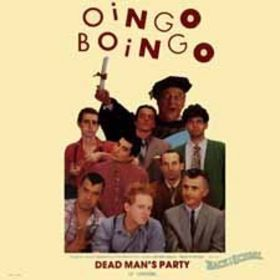 "Picture sleeve for Oingo Boingo's ""Dead Man's Party"" single."