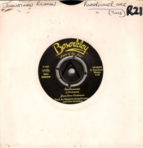 "Jonathan Richman and the Modern Lover's ""Roadrunner"" single."